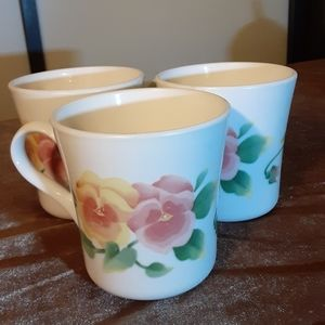 "Vtg set of 3 ""summer blush"" floral coffee cups"